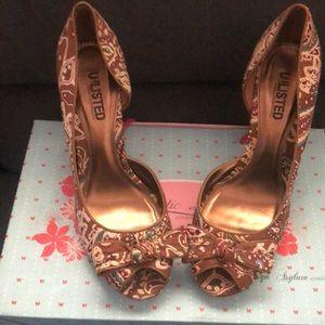 Unlisted - peep toe, bowed, cork heels- size 8